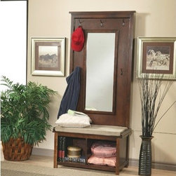 Wildon Home � - Bonney Lake Hall Tree - Features: -Padded cushion seat.-Storage.-Coat hooks.-Dark Walnut finish.-Distressed: No.Dimensions: -72'' H x 34'' W x 18'' D, 83.79 lbs.-Overall Product Weight: 83.79 lbs.