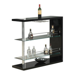 Monarch Specialties - Monarch Specialties I 2351 Black Glossy / Chrome Metal 48 Inch Bar Table - This stylish and contemporary bar table encompasses a cool feel ideal for entertaining your guests. This piece features a spot to hang individual glasses, a top surface for making and serving cocktails, and two glass shelves that are perfect to stock any and all bar essentials. The polished glossy black surface and chrome metal accents complete the look of this unit, making it a must-have item. Bar Table (1)