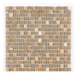 Stone & Co - Stone & Co Mosaic Glass and Stone Mix 5/8 x 5/8 Glass Mosaic Tile Mag 4442 SQ - Finish: Polished / Shiny / Matt