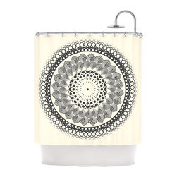 "Kess InHouse - Famenxt ""Black & White Boho Mandala"" Geometric Shower Curtain - Finally waterproof artwork for the bathroom, otherwise known as our limited edition Kess InHouse shower curtain. This shower curtain is so artistic and inventive, you'd better get used to dropping the soap. We're so lucky to have so many wonderful artists that you'll probably want to order more than one and switch them every season. You're sure to impress your guests with your bathroom gallery in addition to your loveable shower singing."