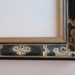 "Custom Framing & Design - Although this hand-carved frame is from a late 19th century design, it works for a still life painting or for a mirror.  The 4"" moulding profile has warm silver gilding on a black tea stain"