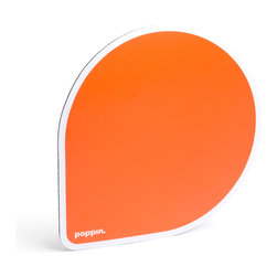 Poppin - Mousepad, Orange - If your ho-hum workspace just can't get in line, point and click your way to cool desk style. Each balloon-shaped pad features a choice of bold, bright colors and a non-skid rubber bottom to keep you, your mouse and your work on track.