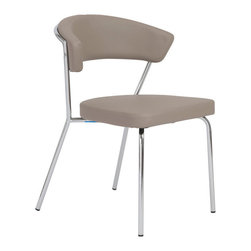 Eurostyle - Eurostyle Draco Side Chair in Taupe & Chrome [Set of 4] - Side Chair in Taupe & Chrome belongs to Draco Collection by Eurostyle All the comfort, and value, of leatherette over foam with back pleasing curved support. Its lack of sharp corners and angular shapes makes it graceful and inviting. Side Chair (4)
