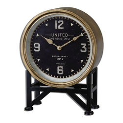 Steve Kowalski - Steve Kowalski Shyam Transitional Table Clock X-49060 - Clock face features a metal frame with a brass finish and aged black stand. Quartz movement.