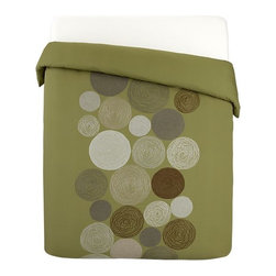 Spirograph King Duvet Cover - While these stylish olive bed linens feature playful motifs recalling the classic Spirograph toy, they're anything but retro. Cream, neutral and earth-toned rounds embroidered in glossy rayon randomly scatter down the center of olive green duvet covers. Duvet inserts also available.