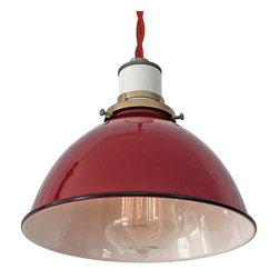 MPDESIGNSHOP - Sullivan Pendant Lamp, Red Twisted Cord - THE SULLIVAN LAMP is a vintage-inspired industrial hanging pendant shade lamp handmade in Philadelphia, PA. Each features a hand-spun red enamel-coated dome metal shade with white interior, black trim, and durable cotton cording in the color of your choice. Quickly and easily install this lamp anywhere you need some extra light with the included 2-inch screw hook.