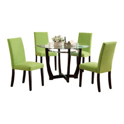 "Adarn Inc. - 5 PC Round Glass Top Dining Set, Chair Espresso Base, Apple Green - A deep espresso base shaped in a unique ""x"" design supports this luminous round table top made of clear beveled glass making it an extraordinary piece for any contemporary decorated dining room. Pair the magnificent structure with equally vivid seating. Each chair is crafted in the Parson design and covered in microfiber with espresso finished legs. Select your seating available in vibrant hues that include saddle, hazelnut, orange or apple green."