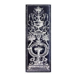 "Vertuu Design - 'Panel et Decoratif I' Artwork - Add texture to your space with the hand-painted ""Panel et Decoratif I"" Artwork. Featuring an ornate white sculpture and scroll design against a navy background, this rectangular acrylic canvas piece has a stately look that pairs well with traditional decor."