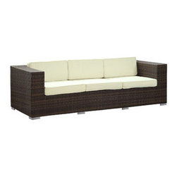 "LexMod - Daytona Outdoor Patio Sofa in Brown White - Daytona Outdoor Patio Sofa in Brown White - Conduct yourself with an air of freshness in this satisfying outdoor rattan sofa. Rejuvenate a restful repose with success and integrity as you position yourself amidst a quick, light modern design. Embark on your most important dynamics as you increase proximity to all things great. Set Includes: One - Daytona Outdoor Wicker Patio Sofa Synthetic Rattan Weave, Powder Coated Aluminum Frame, Water & UV Resistant, Machine Washable Cushion Covers, Ships Pre-Assembled Overall Product Dimensions: 90""L x 35""W x 26""H Seat Height: 12""HBACKrest Height: 26""H Armrest Dimensions: 7""W x 26""H Cushion Depth: 4""H - Mid Century Modern Furniture."