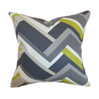"""The Pillow Collection - Hoonah Geometric Pillow Grey 18"""" x 18"""" - Chic and unconventional, this throw pillow comes with understated elegance. This accent pillow features a geometric print pattern in shades of gray, green and white. Ideal for home and office use, this indoor decor pillow brings a modern twist to your interiors. This square pillow mixes well with solids and other patterns. Crafted from 100% plush cotton fabric. Hidden zipper closure for easy cover removal.  Knife edge finish on all four sides.  Reversible pillow with the same fabric on the back side.  Spot cleaning suggested."""