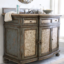 "Ambella - Ambella ""Salina"" Sink Chest - Lovely sink chest adds antique charm to the bath. Imported. Crafted of wood with an antiqued blue finish. Capiz shell inlays on doors and drawers. Woodstone fossil stone top. Faucet sold separately. 48""W x 24""D x 36""T. From Ambella."