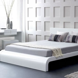 Roma Modern Platform Bed - This fashionable Roma Platform Bed is available in Queen, California King and Eastern King sizes. The bed features curved headboard and wood slats for mattress support.
