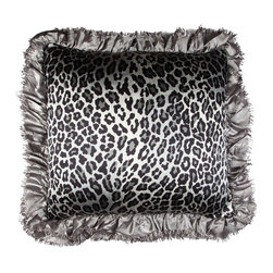 Brandi Renee Designs - Black Pewter Cheetah Ruffle - Make a statement with this chic, safari inspired accessory piece. Whether you're craving an exotic fix for the home or a unique accent, it will dramatically impact your space. The comfy polyfill insert is perfect for a bedroom, office, or lounge area. Outfitted with a monochromatic cheetah print fabric and metallic gray, ruffled trim, it's a fabulous mix of glamour and exotic nature.