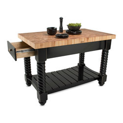 John Boos - John Boos Tuscan Isle Kitchen Island - with End-Grain Maple Top - Boos kitchen island. Maple butcher block top is 2-1/4 inch thick and end grain style. 54x32x36H inches. Roped legs, contoured slatted shelf, 2 drawers.