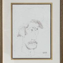 Leonardo Nierman, Self-Portrait 4, Ink Drawing - Artist:  Leonardo Nierman, Mexican (1932 - )