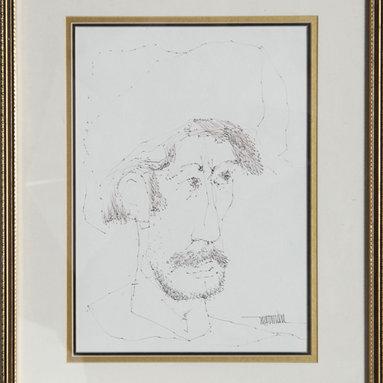 Leonardo Nierman, Self-Portrait 4, Ink Drawing - Artist:  Leonardo Nierman, Mexican (1932 - )