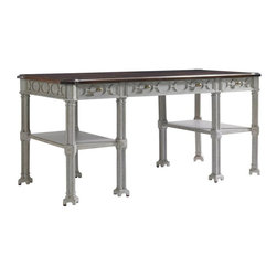 Stanley Furniture - Charleston Regency-Russell Writing Desk - The Gray Linen finish of the Russell Writing Desk quietly communicates a powerful disposition created by its eight-quatrefoil legs. The design offers three drawers and two fixed shelves.