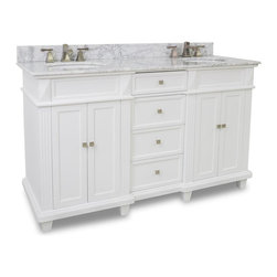 "Recessed Panel Vanity Set with Fluted Pilasters, Dual Sink/Drawer - This set consists of 60"" wide MDF double vanity with tapered legs and preassembled marble top. Two large side cabinets and four fully functional drawers provide for ample storage. Vanity comes preassembled with a 2cm white marble top with 4"" tall backsplash, two 15"" x 12"" bowls, and cut for two 8"" faucet spreads."