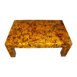 Lacquered Faux Tortoise Shell Coffee Table - This lacquered faux tortoiseshell coffee table has the ideal proportions and weight to bring a mid-sized living space to life. The color of the tortoiseshell will instantly warm up even the coldest of rooms, and the bold pattern will draw the eye in.