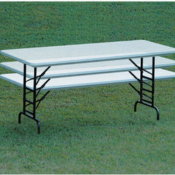 "Correll, Inc. - Small Plastic Folding Table with Adjustable Legs - Correll Quick Ship-Standard Blow-Molded Plastic Folding Tables with Adjustable Legs are perfect for any occasion. Lightweight and extremely easy to handle, these durable folding tables are great for indoor or outdoor use. Terrific option for schools or companies alike. Features: -Lightweight, waterproof blow-molded plastic top. -Tabletop resists damage, scratches and stains, even from gasoline or paint remover. -Strong steel ""ladder"" frame. -1"" 18 gauge steel pedestal legs. -Adjustable height legs adjusting from 22"" to 32"" in 1"" increments. -Mar-Proof plastic foot caps. -Automatic lock-open mechanism. NOTE: For quantity 13-100, lead time will be extended to 5-10 business days. For quantity 100+, please call for lead time."