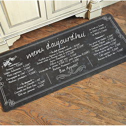Ballard Designs - French Bistro Comfort Mat - Medium size is great for double sinks. Machine wash warm and air dry. You've seen other fatigue mats out there, but not like ours. The spongy rubber back is extra thick, so you can stand, prep and cook in comfort for longer periods. The fun design is based on a chalkboard menu we saw outside a Paris bistro.French Bistro Comfort Mat features:. .