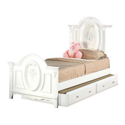 """Acme - 5-Piece Flora Collection Ii White Finish Wood Floral Design Twin Bedroom Set - 5-Piece Flora collection II white finish wood floral pattern design twin bedroom set with decorative accents. This set includes the Twin bed with decorative handles, nightstand, dresser, mirror and chest. Twin bed measures 57"""" H to the top of the headboard. Nightstand measures 26"""" x 17"""" x 27"""" H. Dresser measures 52"""" x 19"""" x 32"""" H. Mirror measures 28"""" x 41"""". Chest measures 36"""" x 18"""" x 52"""" H. Also available in full size, and additional pieces also available separately. Some assembly required."""