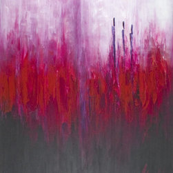 Scandinavian Art Factory - LARGE ARTWORK - Your room will bloom, thanks to the vibrant blend of lilac, orange and fuchsia that flourishes in this radiant painting. Think of it as a bouquet you display for more than a day, not on the center of your table, but on the center of your wall.