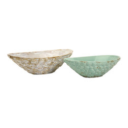 Seashell Serving Bowls - Set of 2 - In cream and aqua, this set of two bowls feature an exterior seashell pattern and a rustic aged appearance.