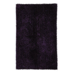 JRCPL - Hand-woven Purple Shag Polyester Rug (3'6 x 5'6) - Decorate your home or office with this purple hand-woven rug. This bold rug features a traditional shag pattern. Made from 100 percent polyester, this classic rug is suitable for outdoor surfaces because of its durable construction.