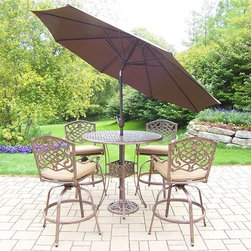 Oakland Living - 7-Pc Outdoor Bar Set in Antique Bronze Finish - Includes a bar table, four swivel bar stools with cushions, 108 in. tilt crank umbrella with stand and metal hardware. Traditional lattice pattern and scroll work. Handcasted and lightweight. Durable and rust free. Fade, chip and crack resistant. Hardened powder coat. Warranty: One year. Made from cast aluminum. Minimal assembly required. Table: 42 in. Dia. x 44 in. H (60 lbs.). Bar stool: 29 in. Dia. x 45.75 in. HThe Oakland Mississippi Collection combines grace style and modern designs giving you a rich addition to any outdoor setting. The pattern is crisp and stylish. Each piece is finished for the highest quality possible. This set will be a beautiful addition to your patio, balcony or outdoor entertainment area. Our bar sets are perfect for any small space, or to accent a larger space. We recommend that the products be covered to protect them when not in use. To preserve the beauty and finish of the metal products, we recommend applying an epoxy clear coat once a year. However, because of the nature of iron it will eventually rust when exposed to the elements.