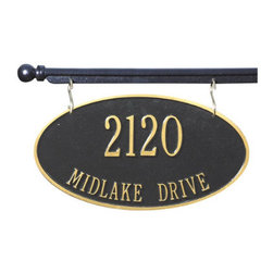 St. Yorre Hanging Address Sign and Mounting Bar - Add substantial curb appeal and help your guests find your home with a beautiful St. Yorre Hanging Address Sign.  This sign is two-sided so no matter which direction a person is driving, they will easily locate your home.