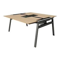 """Turnstone - Turnstone   Bivi Table For Two With Back Pocket - Whether collaborating, working solo, or mentoring new employees, the Bivi Table For Two With Back Pocket offers the ideal versatile work station. Forget the preconcieved desk and cubicle, Bivi offers two desks seated head-to-head with the ability to grow, change, and expand right along with the business. Designed with the user in mind, this desk is lightweight for simple and easy assembly and reconfiguration. Recessed from the table top is a storage area running the width of the table. This pocket features flush sliding doors for privacy and an exposed area for easy access to frequently used items. Bivi integrates cable management along with the optional Plug and Play Power Kits, to keep cords neat and tidy while providing space for several power sources. Power sources can be added via the bottom and sides of the media trough allowing for easy access to plugs from the front, back, and top of the desk. Expand Bivi's desktop space by connecting the appropriate number of Bivi Plus Two Desks to meet your needs. Design an ideal current and future workspace with the Bivi Table For Two With Back Pockets. Product Features:  Multi-person seating with top recessed storage area Two sliding storage compartment doors conceals personal items and technology Lightweight 0.5"""" thick table top for easy reconfiguration Hidden channel hides power cords and offers table-top height for easy access for resident or mobile users Power trough allows for storage of electrical components or optional Plug and Play Power Kits Optional reconfiguration with purchase of additional table tops, legs and accessories 46% recyclable and contains 59% recycled content SCS Indoor Advantage™ Gold certified in North America level™ 1 certified to the BIFMA e3 standard Designed for easy assemby, required tool included Available in several finishes"""