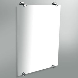 Minimalist Mirror with Round Hardware - The Minimalist Vanity Mirror features tubular mounting hardware in your choice of finish.  The rectangular mirror adds a modern touch to any bath.