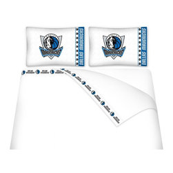Sports Coverage - Sports Coverage NBA Dallas Mavericks Microfiber Hem Sheet Set - Twin - NBA Dallas Mavericks Microfiber Hem Sheet Set have an ultrafine peach weave that is softer and more comfortable than cotton. Its brushed silk-like embrace provides good insulation and warmth, yet is breathable.   The 100% polyester microfiber is wrinkle-resistant, washes beautifully, and dries quickly with never any shrinkage. The pillowcase has a white on white print beneath the officially licensed team name and logo printed in vibrant team colors, complimenting the new printed hems.    Features: -  Weight of fabric - 92GSM ,  - Soothing texture and 11 pocket,  -  100% Polyester,  - Machine wash in cold water with light colors,  - Use gentle cycle and no bleach ,  - Tumble-dry,  - Do not iron ,