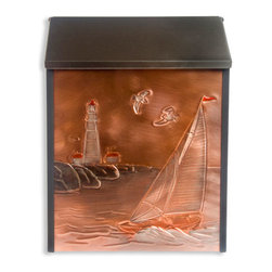Sailboat & Lighthouse Locking Wall-Mount Copper Mailbox - Great for a coastal home, or to bring a reminder of the ocean to your house, this locking wall mount mailbox has a lighthouse and sailboat hand-embossed on copper, and accented with subtle color additions.