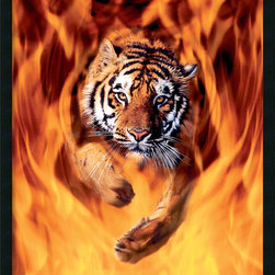 Amanti Art - Bengal Tiger Jumping In Flames Framed with Gel Coated Finish - Get a little wild with your decor. The ultimate in equipoise, this tiger stares back into the photographer's lens with a look that says he knows who's boss.