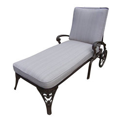 Oakland Living - Oakland Living Mississippi Cast Aluminum Chaise Lounge with Cushion - Oakland Living - Patio Lounges - 21082AB - About This Product: