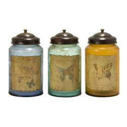 Worldly Butterfly Glass Canisters - Set of 3 - Set of three equal sized, colored glass canisters with a weathered butterfly designed front.