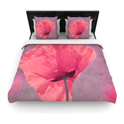 """Kess InHouse - Iris Lehnhardt """"Poppy"""" Pink Flower Cotton Duvet Cover (Twin, 68"""" x 88"""") - Rest in comfort among this artistically inclined cotton blend duvet cover. This duvet cover is as light as a feather! You will be sure to be the envy of all of your guests with this aesthetically pleasing duvet. We highly recommend washing this as many times as you like as this material will not fade or lose comfort. Cotton blended, this duvet cover is not only beautiful and artistic but can be used year round with a duvet insert! Add our cotton shams to make your bed complete and looking stylish and artistic!"""