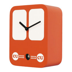 Progetti - CucuBus 2227 Orange Wall Clock - Simple shapes with iconic graphic, a bus in the '60s-style dress the cuckoo clock designed by Francesca Macchi. Nice object with sleek and compact size are placed in a harmonious way inside homes and offices giving a touch of originality and color. The structure is made of wood with the bird positioned in the lower center part. LBattery quartz movement. The Cuckoo strike is switched off automatically during the night controlled by a light sensor.