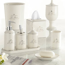 "Kassatex - La Bain Cream Porcelain Parisian Style Bath Accessories - ""Luxe Pour la Maison Le Bain Paris"""