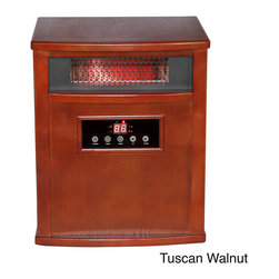 None - American Comfort Titanium 1000-square-foot Solid Wood Portable Infrared Heater a - The ACW Titanium 1500W portable infrared heater utilizes the latest innovations in infrared heating technology and is equipped with a built in UV-C air purifier with TiO2 technology. The finish comes in a Tuscan walnut, oak or espresso.