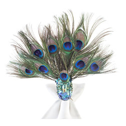 Sitting Peacock Napkin Rings, Set of 4 - Oh my goodness, I am absolutely in love with these napkin rings and know this tiny dash of electric blue would wow all of my dinner guests!