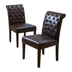 Great Deal Furniture - Elliston Brown Leather Dining Chair (Set of 2) - Tuft love: These plush leather dining chairs encourage many hours of comfortable laughter, conversation and joy around the table. The handsome tufted back and classic design just add to your appreciation of these elegant chairs.