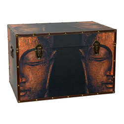 Oriental Furniture - Buddha Storage Trunk - Eyes closed in meditative contemplation, mouth bent slightly in a peaceful smile, the divine countenance of the Buddha is lovingly rendered on this beautiful trunk. Awash in a soft amber glow that brings out the full range of color in its patina, an antique Buddha statue was carefully photographed and reprinted in high definition on photo-quality canvas. The hues of the print are enhanced by the matching faux leather edges and metal fixtures featuring a brushed brass finish. An inconspicuous interior arm conveniently holds the lid when you need the trunk open, and a pair of external closures keep it shut tight when you don't. The sturdy wooden interior is lined with soft fabric, giving protection and padding for your possessions, and granting you peace of mind befitting a Bodhisattva. Perfect for a living room, bedroom, yoga studio, or place of business, this chest will add both storage and serenity to your personal decor.