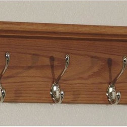 Wooden Mallet - Hat and Coat Rack w 5 Hooks - Includes pre-drilling and mounting hardware for installation. Sturdy nickel hooks holds coats, hats, umbrellas and more. Two oak top bars mortised into the sides to easily support hats, purses or briefcases. Frame made from solid oak for extra durability. Hooks made from metal. Medium oak finish. Made in USA. No assembly required. 32.75 in. W x 9 in. D x 8.5 in. H (14 lbs.). WarrantyThese attractive coat racks are stylish enough to match almost any decor.