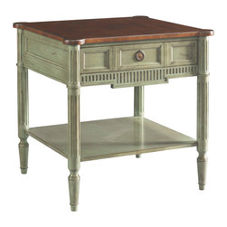 Sherrill Occasional - Sherrill Occasional Square Lamp Table 490-940 - Square lamp table with full sized lower shelf and one working drawer. Like most tables in this collection this lamp table is available in a wide variety of finishes as well as contrast top.