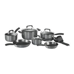 T-fal - Signature Hard Anodized 12-Pc Non-Stick Cookw - Includes 8 in. and 10.25 in. fry pans, 1, 2 and 3 Qt. covered sauce pans with lids, 5 Qt. covered Dutch oven and two tools. Thermo-spot heat indicator. Hard anodized exterior. Non-stick interior. Easy clean. Comfort gripping. Even heat base. Glass lid. Soft touch handlesT-Fal's Thermo-Spot heat indicator shows when your pan is perfectly preheated to seal in the flavor of your food - the secret to successful cooking. T-Fal's genuine nonstick interior is ideal for healthy, low-fat cooking and effortless cleaning. Exclusive T-Fal base provides efficient heat distribution throughout the entire bottom of the pan.