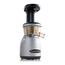 Omega - Omega Vertical Masticating Heavy Duty Juicer - Silver - Omega Vertical Masticating HD Juicer - Silver - VRT350   The Omega Model VRT350 VERT Juicer is a revolutionary product that features the high efficiency of a masticating style juicer in a vertical design. The VERT is designed to be compact, contemporary and productive. Most juicers process at a speed of 1,650 to 16,000 RPM, destroying many healthy enzymes and causing juice to degrade shortly after being extracted.