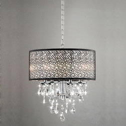 None - Indoor 4-light Chrome/ Crystal/ Metal Bubble Shade Chandelier - Add classic elegance to your foyer or dining room with this 4-light crystal, metal bubble shade chandelier. This light is stunning. With its crystal accents and an antique bronze shade, this chandelier will fit into a vintage or modern decor.